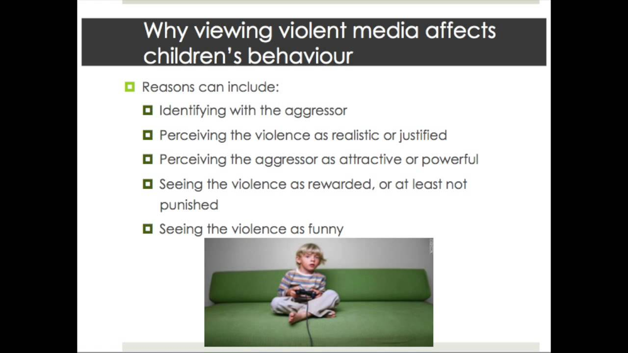 media violence and children Violent media is good for kids renowned comic-book author gerard jones argues that bloody videogames, gun-glorifying gangsta rap and other forms of 'creative violence' help far more children.