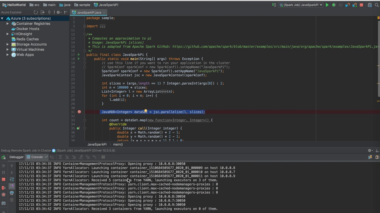 Use Azure Toolkit for IntelliJ to debug Spark applications remotely in  HDInsight