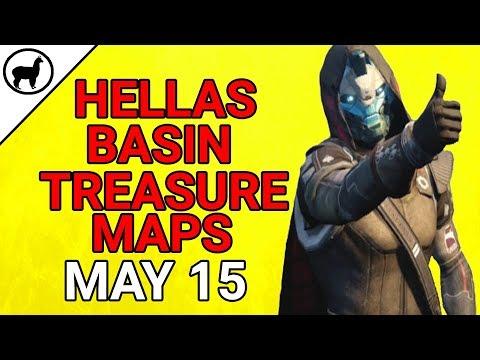 Hellas Basin Treasure Map Locations May 15 | Cayde-6 Stashes Treasure Chests | Destiny 2 Warmind