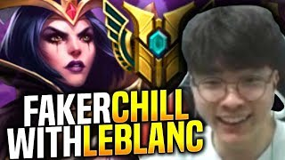 Faker Chilling with Leblanc! - SKT T1 Faker Plays Leblanc vs Fizz Mid! | S9 KR SoloQ Patch 9.10