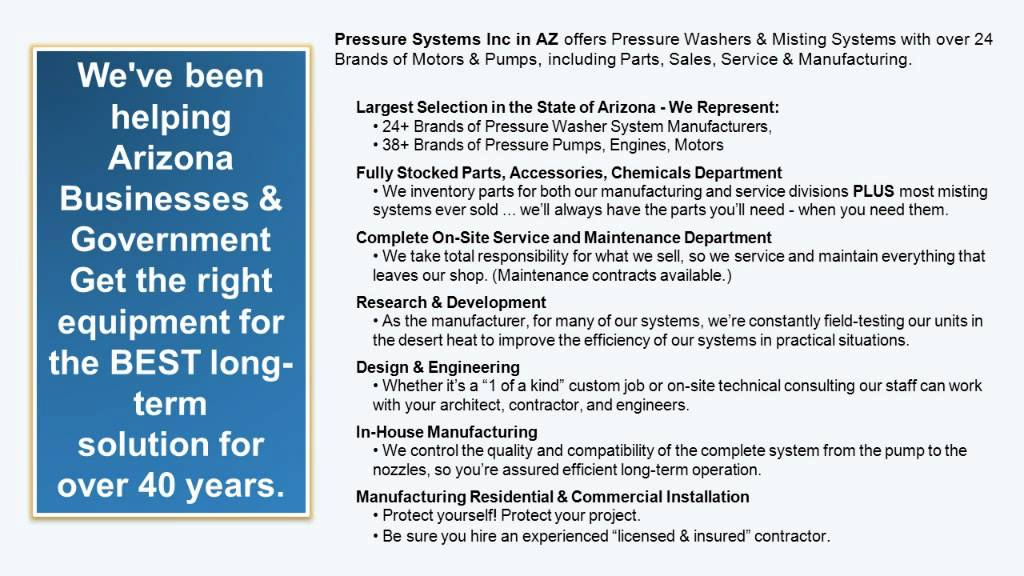 Arizona Misting Systems and Pressure Washer - Pressure Systems Inc