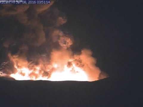 Volcano explosion at Halemaumau on Jan. 8