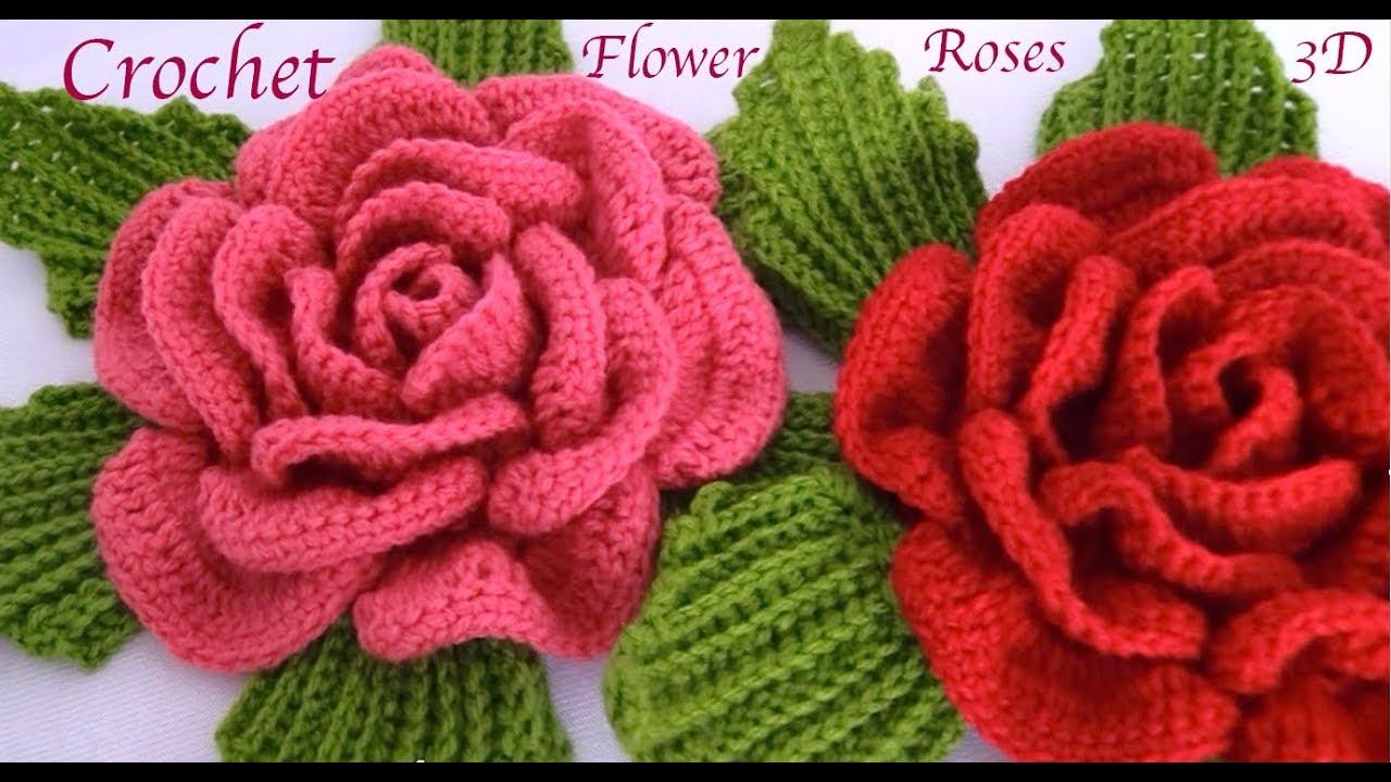 Como hacer flores Rosas gigantes 3D con hojas a Crochet paso a paso