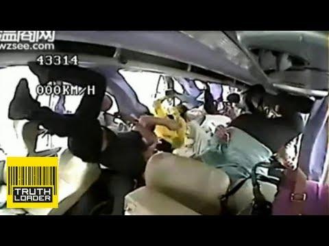 Shocking Moment Bus Driver Survives Horrific Crash In C