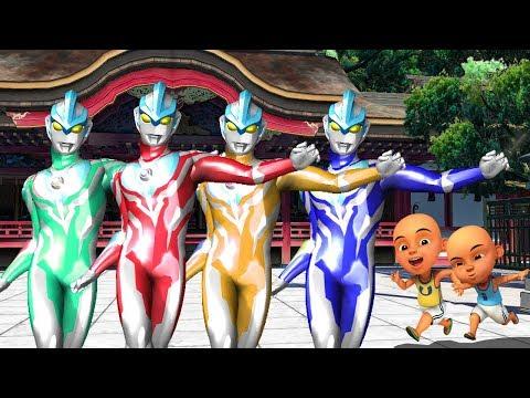 Upin Ipin Ultraman Ginga + UItraseven Vs Power Rangers Megazord Finger Family Song