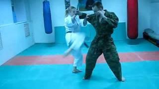 DrobyshevskyKarateSystem: Secrets Heian Yondan-7-Kakewaki Uke-Knife Defense, Weapon Disarm & Atemi