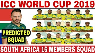 ICC WORLD CUP 2019 SOUTH AFRICA TEAM SQUAD   SOUTH AFRICA 16 MEMBERS ODI SQUAD FOR WORLD CUP 2019