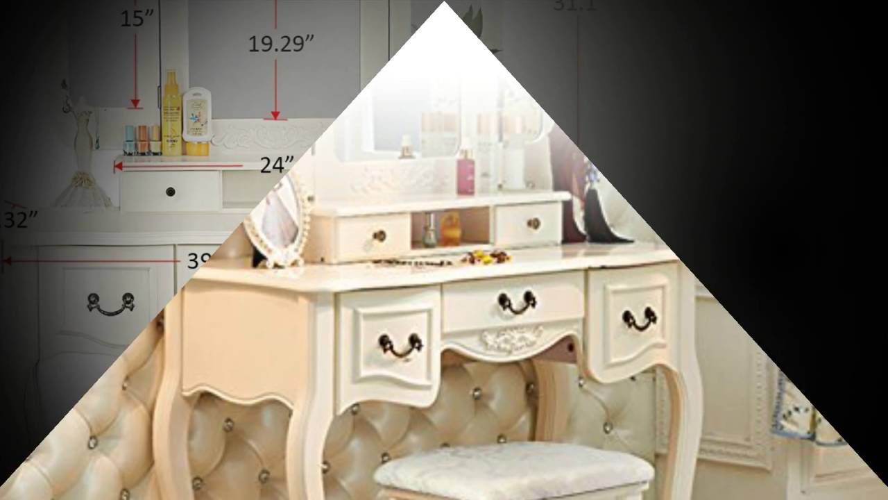 Tribesigns French Vintage Ivory White Vanity Dressing Table Set Makeup Desk