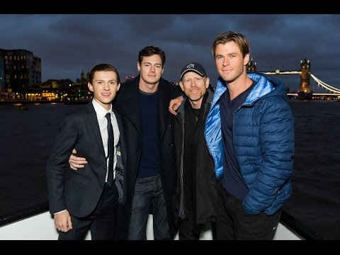 Chris Hemsworth, Tom Holland, Ben Walker & Ron Howard Sail Down The Thames - In The Heart Of The Sea