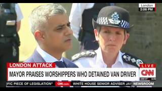 Major of London speaks following the crash of a van into Muslim worshippers in London's Finsbury Mos