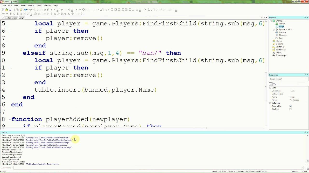 Roblox Lua Tutorials 19 Admin Command Bans Youtube