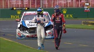 CHAZ MOSTERT AND SHANE VAN GISBERGEN COME TOGETHER THEN JAMES MOFFAT CRASHES INTO SVG