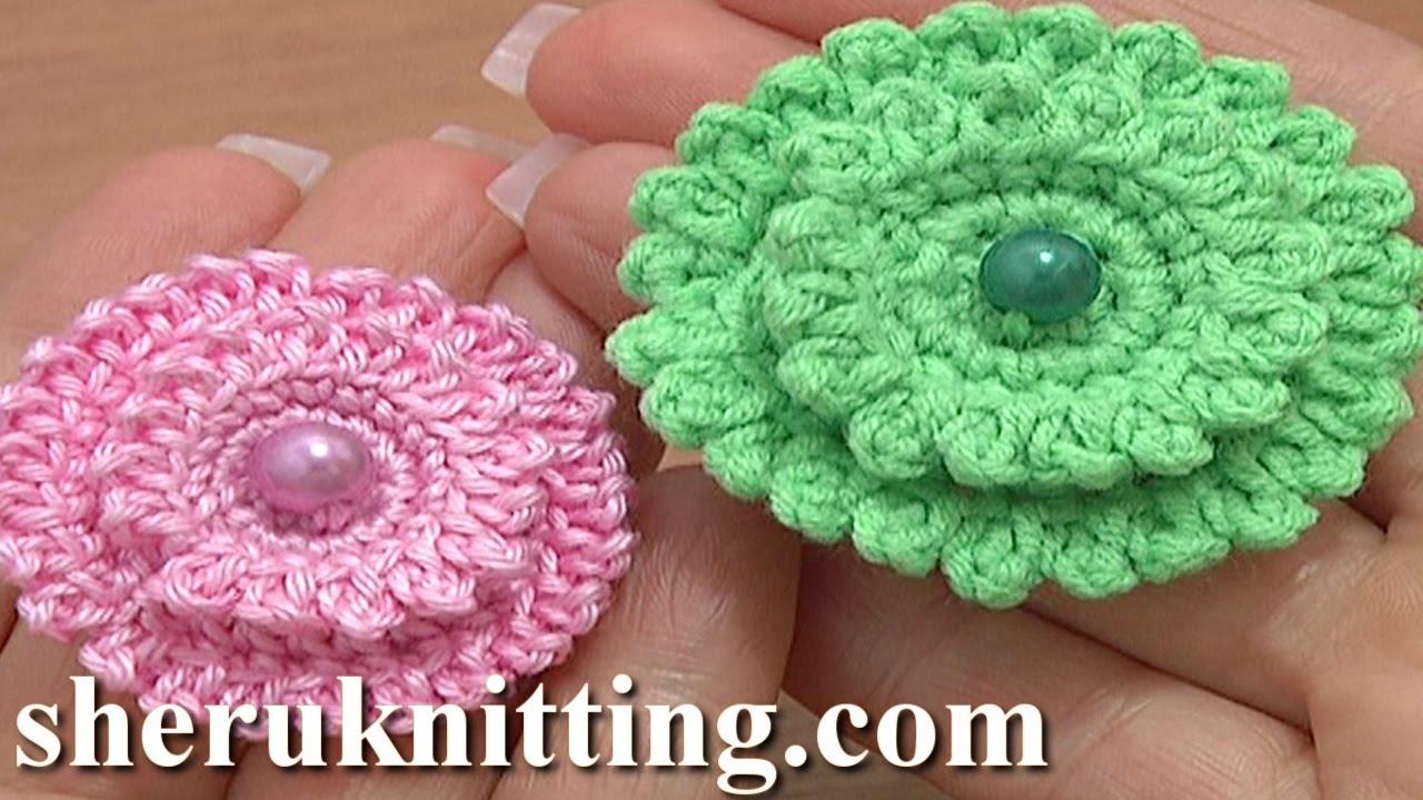 Layered Crochet Stuffed Flower Button Tutorial 6 Part 2 of 2 ...