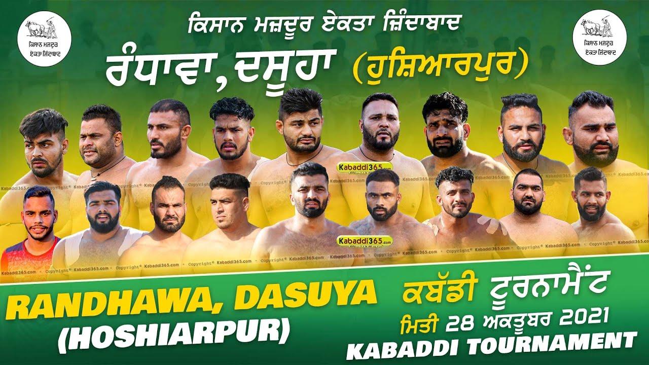 Live Randhawa Near Dasuya Hoshiarpur Kabaddi Cup 28 Oct 2021