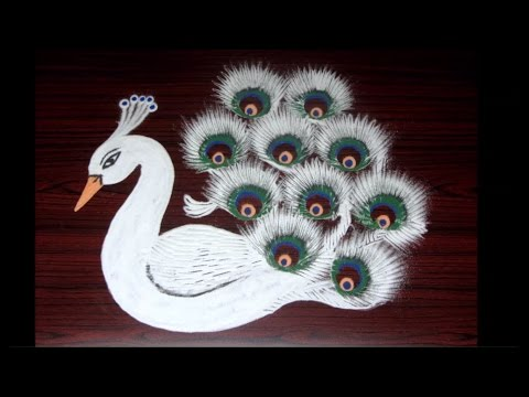 creative rangoli designs using filters || white peacock kolam designs with innovation