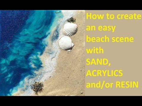 Beach Canvas -  Acrylic and Resin abstract fluid painting - Tutorial