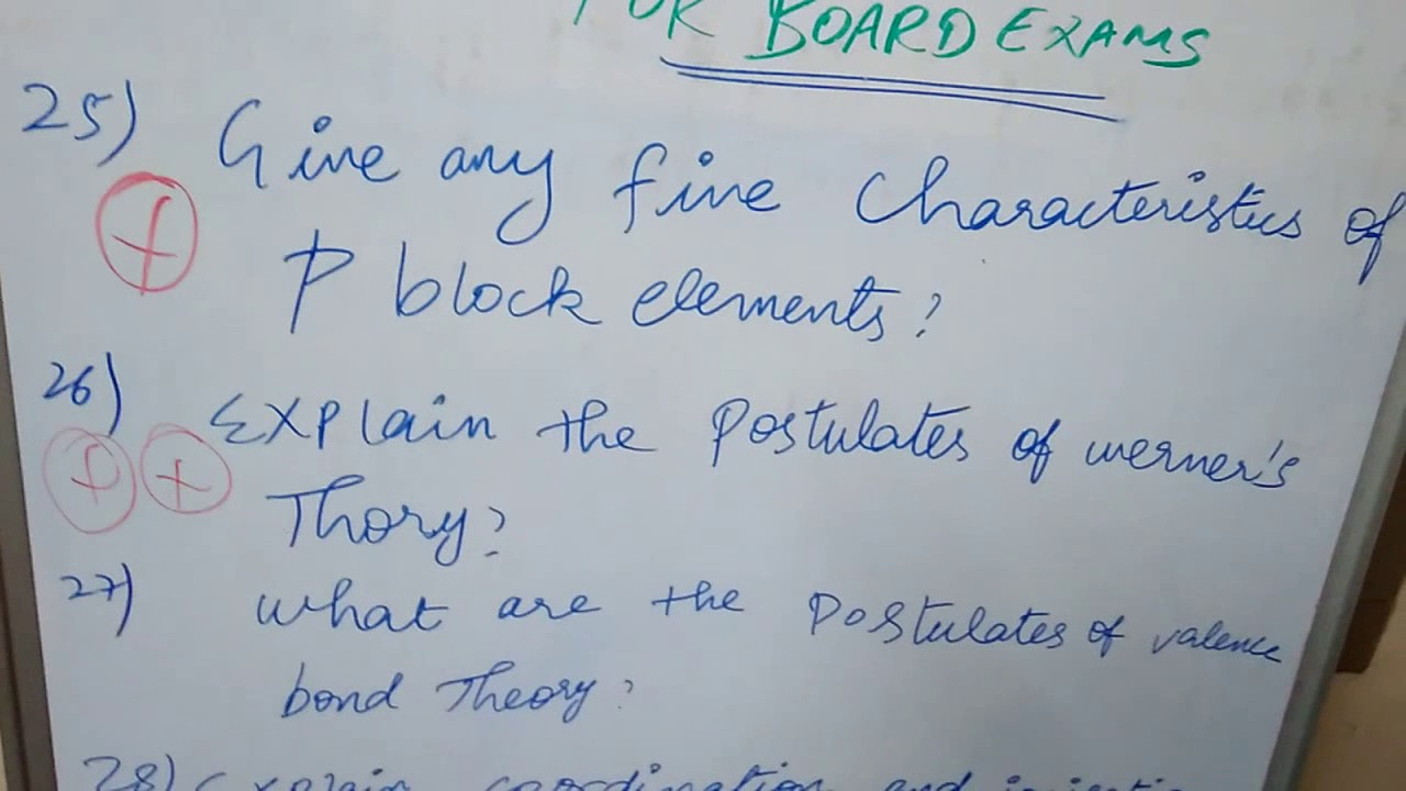 chemistry important questions for board exam
