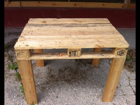 Pallet table easy to make diy youtube - How to make table out of wood pallets ...