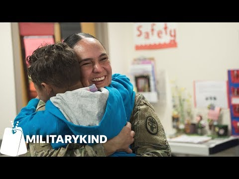 Son freezes when he sees Army mom for first time in months | Militarykind