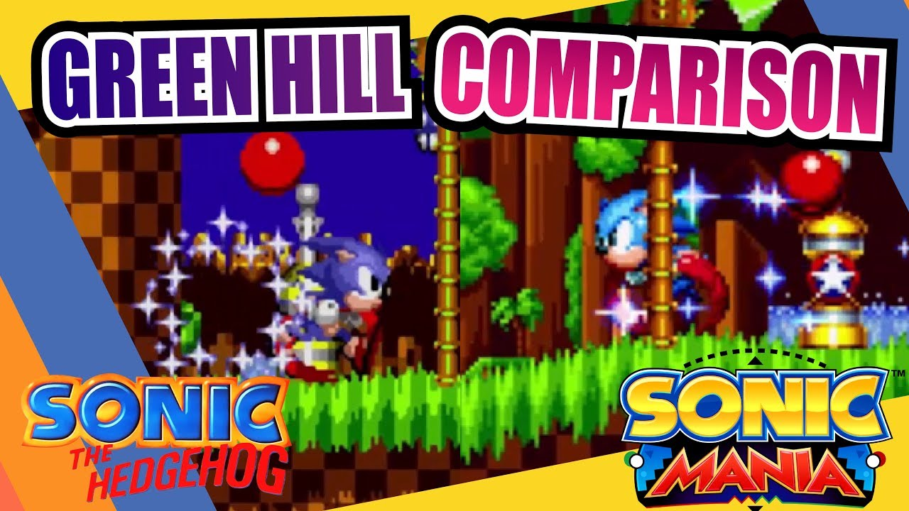 Sonic Mania And Sonic The Hedgehog Green Hill Zone Side By Side Comparison Youtube