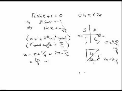 trig 05 solving trig equations radians exact values youtube