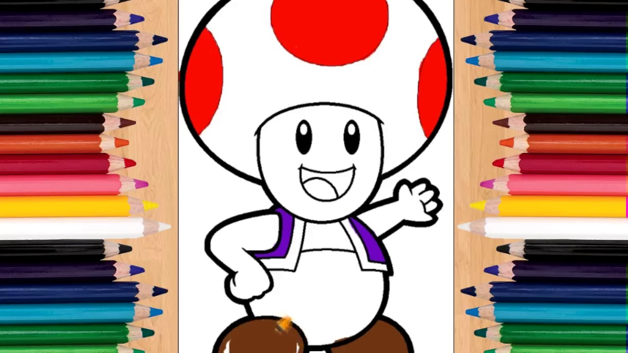 toad from super mario coloring pages youtube