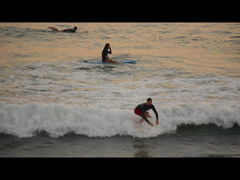 Surfing in Santa Monica, California