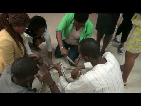 YALI participants in a Sustainability Tower building exercise