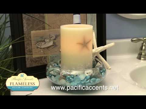 Pacific Accents Oceanside Starfish Flameless Pillar Candle