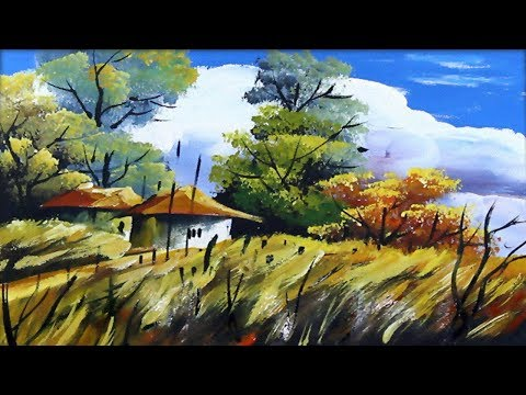 Village House Landscape in Acrylic Painting  | Scenery Drawing of Nature