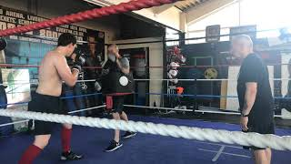 Cruiserweight Prospect Craig Glover on Pads with coach Derry Mathews