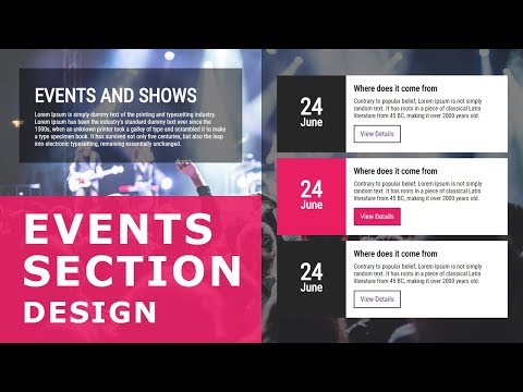Events Section UI Design - Pure Html CSS Tutorial  - UI And Layout - Website Section Design Tutorial