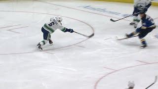 Brock Boeser nets bizarre goal off glass and Jake Allen's pad