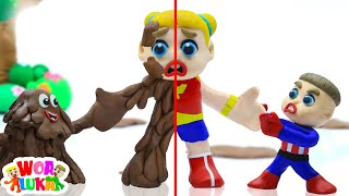 Luka Gets Stuck with Mud Monster Pretend Play 😱 Funny Cartoons Animation For Children