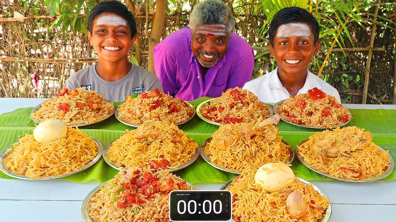 5 PLATE CHICKEN BIRYANI & 5 PLATE CHICKEN RICE EATING CHALLENGE | VILLAGE EATING COMPETITION