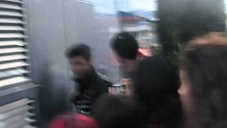 Andy Biersack get down from the tour bus in Rome