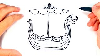 How to draw a Viking Ship | Viking Ship Easy Draw Tutorial