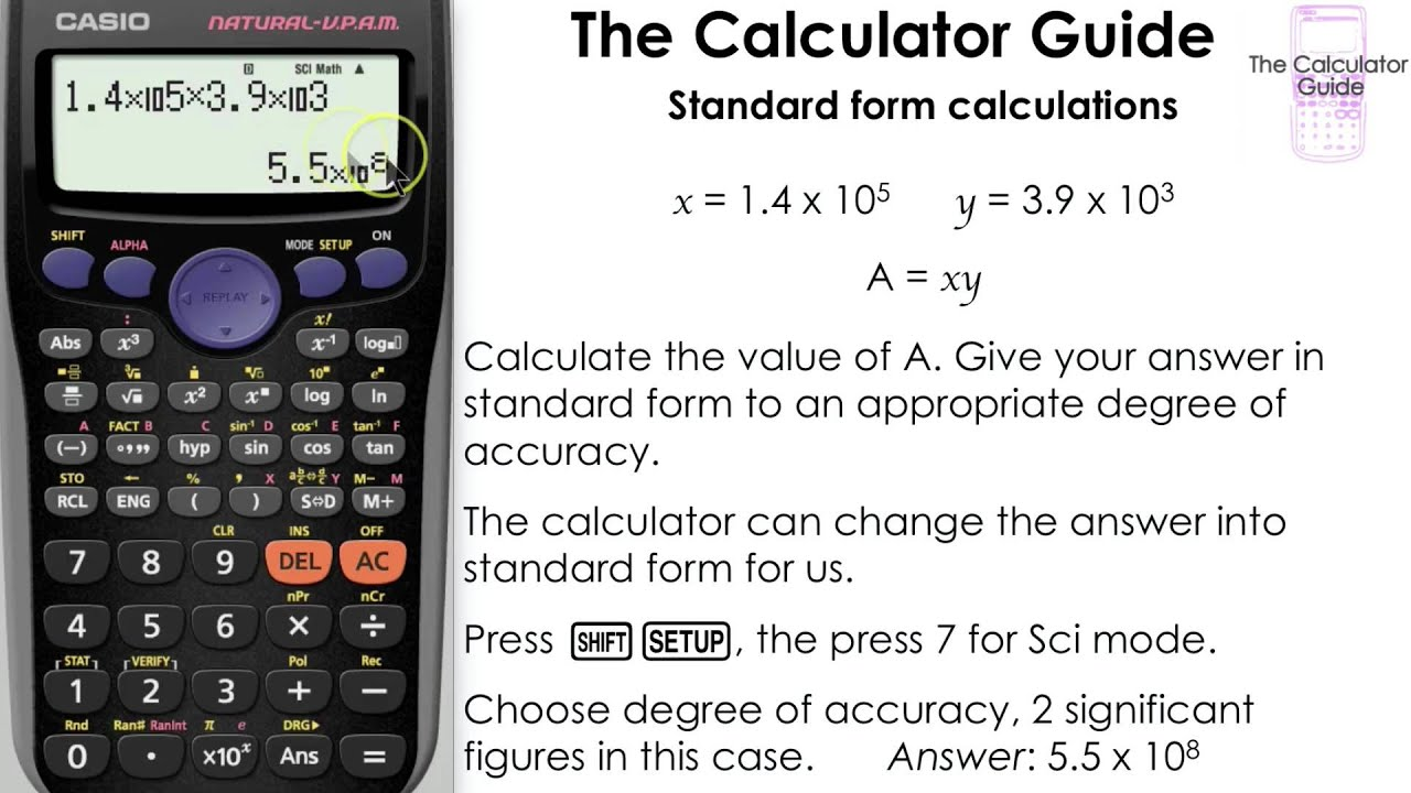 Standard Form Calculations [Science notation] (Casio calculator ...
