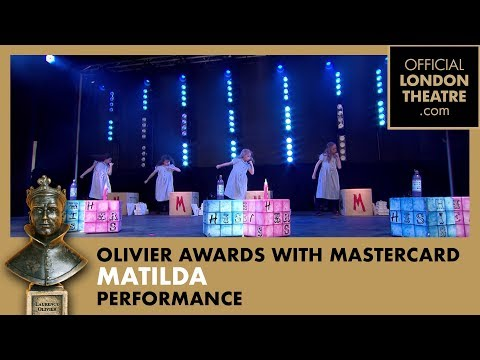 Matilda The Musical performs in Covent Garden at the Olivier Awards 2015 with MasterCard