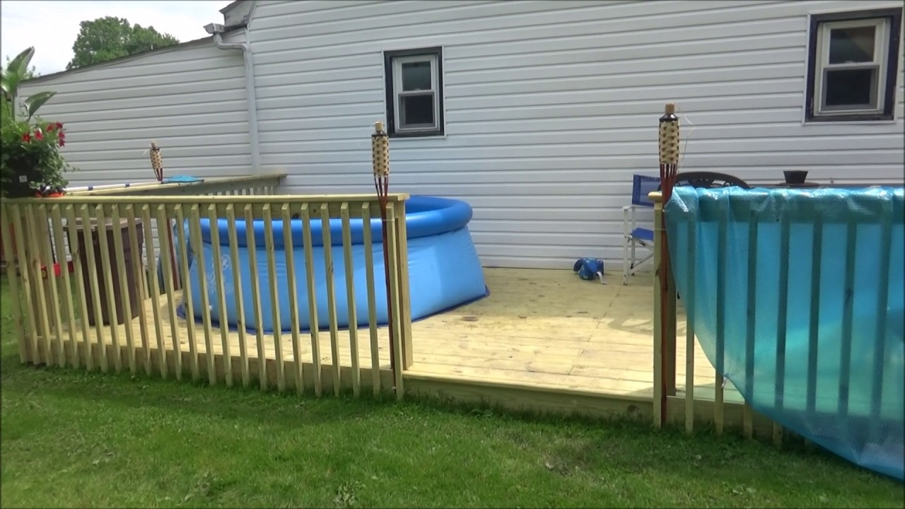 Intex Easy Set Up Pool 8ft X 30 In On My New Deck Youtube