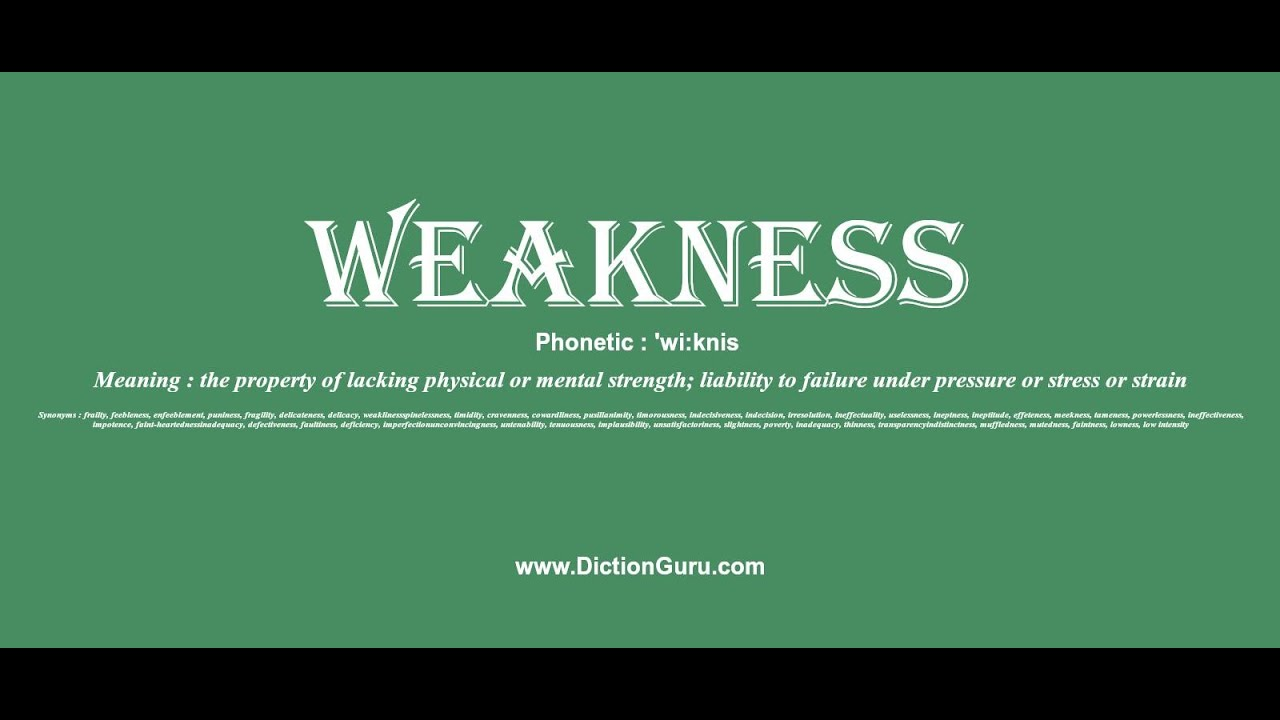 weakness: Pronounce weakness with Phonetic, Synonyms and Examples