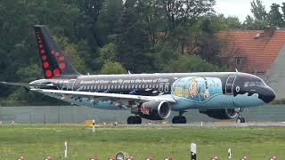 EYECATCHER Brussels Airlines Airbus A320-214 OO-SNB (Tintin Livery) Rackham Taxiing + Takeoff Berlin