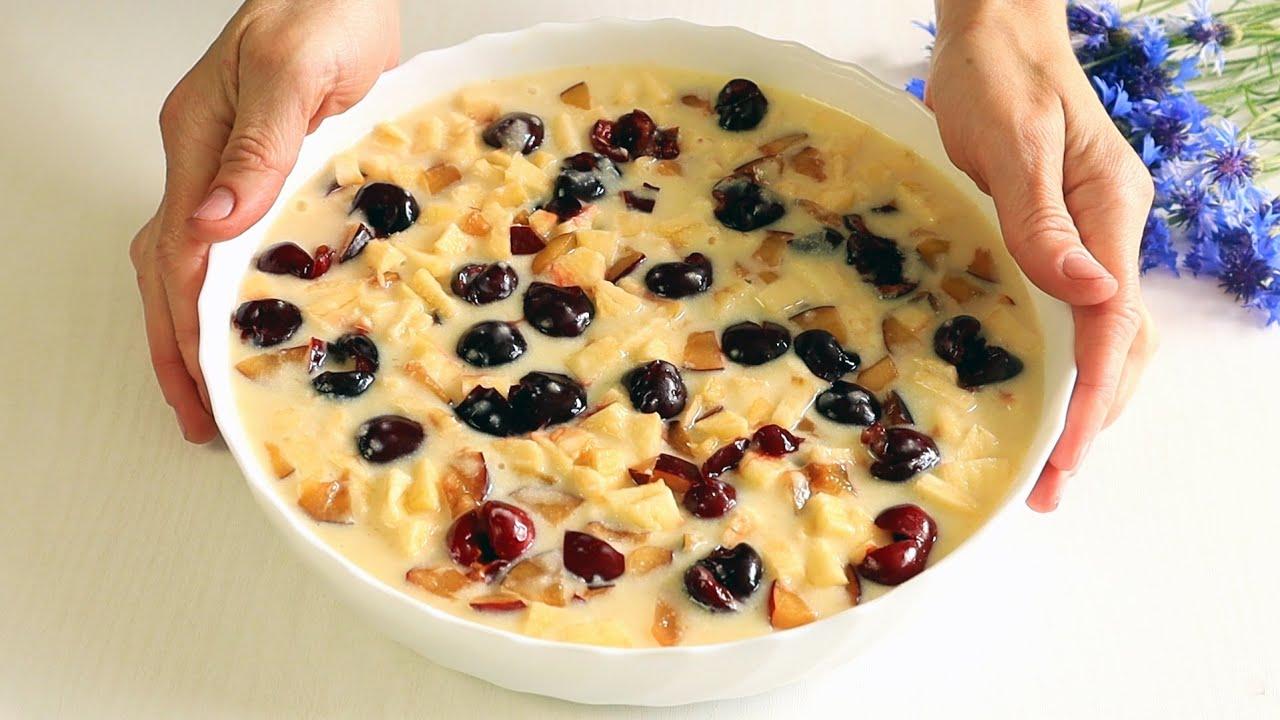 Вкусно к Чаю из Ничего!Самый Простой МАННИК(Пирог)с фруктами и самый вкусный!
