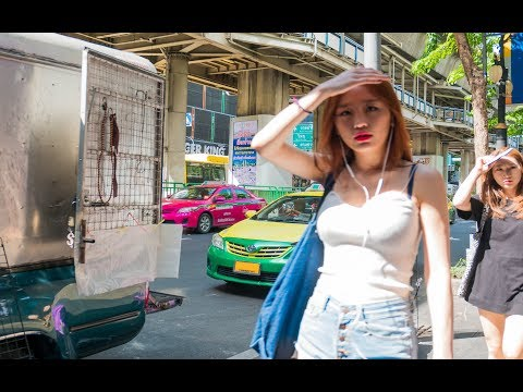 Silom Road Day Scenes - Bangkok, Thailand 2017