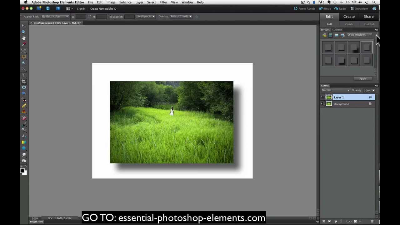 How To Add A Drop Shadow To Your Photos With Photoshop Elements ...