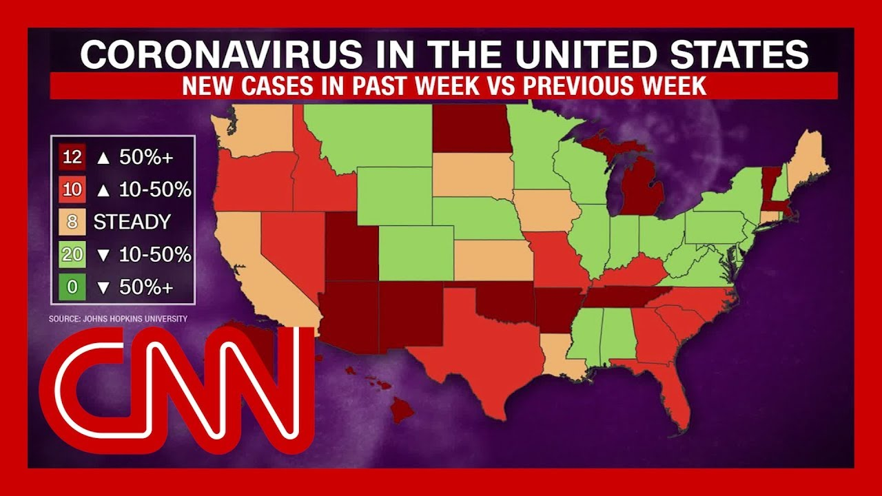 New virus cases on the rise in almost half of US states