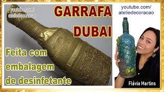 DIY – Garrafa Dubai com jornal, atadura e renda
