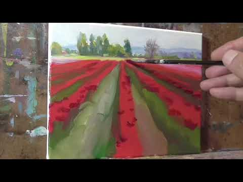 Tulip Field timelapse version Oil Painting Demo ALLA PRIMA Landscape