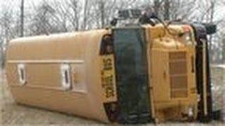 School bus flips in 1,000 mile storm