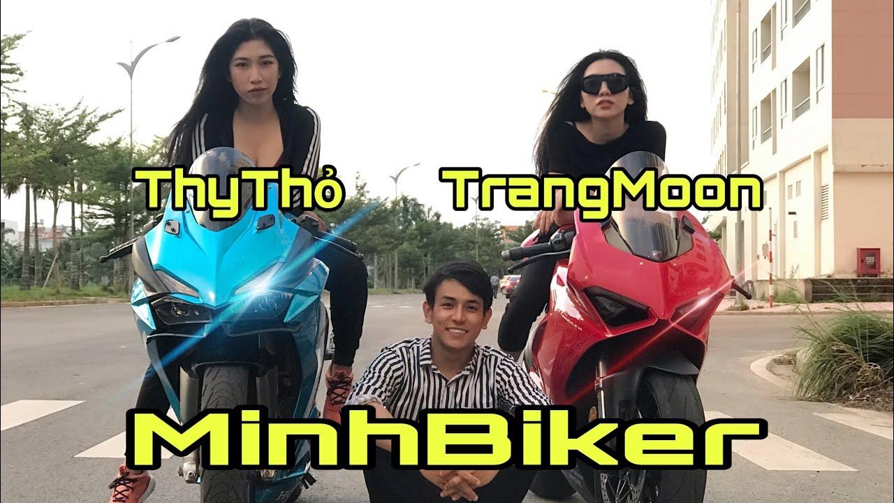 Nữ Biker Xinh Đẹp Trú Mưa - Hậu trường Thy Thỏ , TrangMoon | MinhBiker
